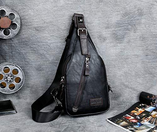 Alena Culian Sling Backpack Men Leather Chest Bag Crossbody Shoulder Bag For Men(black) 19 Fashion Online Shop gifts for her gifts for him womens full figure