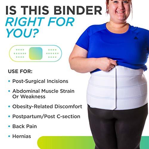 BraceAbility 4XL Plus Size Bariatric Abdominal Stomach Binder | Obesity Girdle Belt for Big Men & Women with a Large Belly, Post Surgery Tummy & Waist Compression Wrap 4