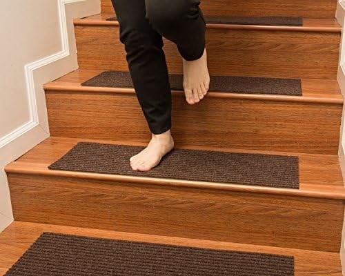 Handmade Stair Treads Carpet Set Of 13 Polyester Beige | Natural Area Rugs Stair Treads | Non Slip | Malvern | Slip Resistant | Polypropylene Carpet | Beige