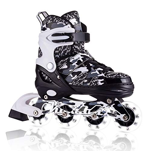Kuxuan Boys Camo Black & Silver Adjustable Inline Skates with Light up Wheels, Fun Illuminating Roller Blading for Kids Girls Youth - Large(3-6)