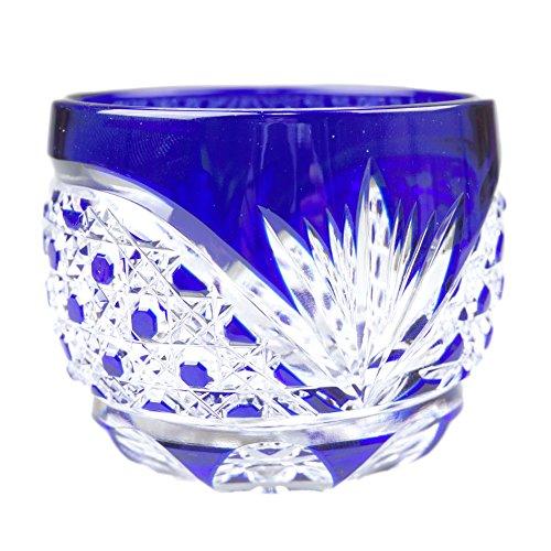 Crystal Sake Cup Edo Kiriko Guinomi Cut Glass Octagon Hakkaku-Kagome Pattern - Blue [Japanese Crafts Sakura]