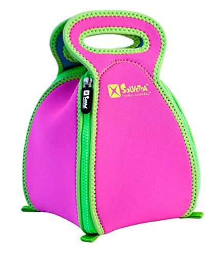 Convertible Neoprene FlatBox Lunch Box & Placemat for School, the Office and Travel - Machine Washable Lunch Tote for Easy Clean & Germ-Free Meals; Regular Blue/Pink (Pink/Green)