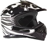 Youth Dirt Bike Helmet Off Road ATV Motorcycle MX Kids Motocross - Black Silver - Large