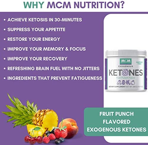 MCM Nutrition - Exogenous Ketones Supplement & BHB - Caffeine Free and Suppresses Appetite - Instant Keto Mix That Puts You into Ketosis Quick & Helps with The Keto Flu (Fruit Punch - 15 Servings) 9