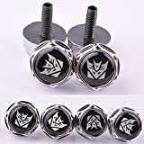 4 Pcs Chrome Car parts Auto Logo Stainless Replacement License Plate Frame Screw Bolt Caps Covers emblem With Decepticon The Transformers