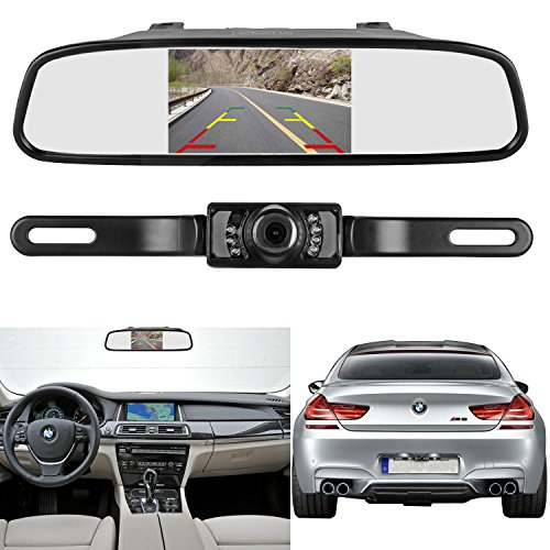LeeKooLuu Backup Camera and 4.3'' Mirror Monitor Kit for Car//SUV/RV/Van/Truck Single Power Rear View System Driving/Reversing Use IP68 Waterproof Night Vision with Guide Lines
