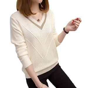 Women Sweaters and Pullovers Hollow Sweaters Womens Loose Knitted Sweater v-Neck Pullover Tops