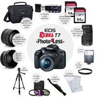 Canon-EOS-Rebel-T7-DSLR-Camera-EF-S-18-55mm-f35-56-is-II-EF-75-300mm-f4-56-III-Lens-Canon-EOS-Shoulder-Bag-2X-64GB-Memory-Card-58mm-Wide-Angle-Telephoto-Lens-Slave-Flash-Tripod