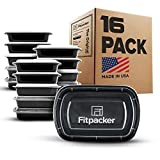 Fitpacker Meal Prep Containers [16 Pack] USA Quality - BPA Free Food Storage - Microwave, Dishwasher and Freezer Safe (One Compartment, 28oz)