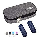 TAWA apollo walker Insulin Cooler Travel Case Diabetic Medication Cooler with 2 Ice Pack and Insulation Liner (Gray)