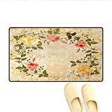 Door Mats,Oval Shape Floral Crown with Leaves and Roses Over Damask Motif Shabby Boho,Bath Mat Bathroom Mat with Non Slip,Yellow Green Pink,Size:32'x48'