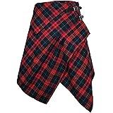 Tartan Skirt - 3 Pocket Skirt in 2 Traditional Scottish Tartan Colors (M, Red Rose/Medieval Blue)