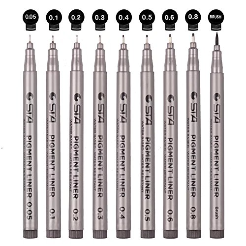 Black Micro-line Pens for Drafting - Ultra Fine Point Technical Drawing Pen Set, Anti-Bleed Fineliner Pen for Illustration, Office, Sketch, Scrapbooking, Signature, 9 Size