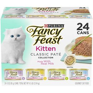 Purina Fancy Feast Grain Free Pate Wet Kitten Food Variety Pack; Kitten Classic Pate Collection, 4 flavors – (24) 3 oz. Boxes