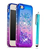 Case for iPhone SE iPhone 5 5S, Cattech Glitter Liquid Floating Flowing Sparkle Flexible TPU Bling Diamond Slim Clear Soft TPU Cover Protective Case for Apple iPhone 5/5S/SE + Stylus (Blue/Purple)