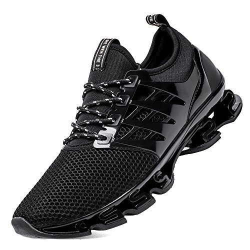 SKDOIUL Black Springblade Jogging Shoes for Mens mesh Breathable Slip on Comfortable Boys Trail Running Shoes Outdoor Travel Shoes Black Size 10.5 (8066-Black-45)