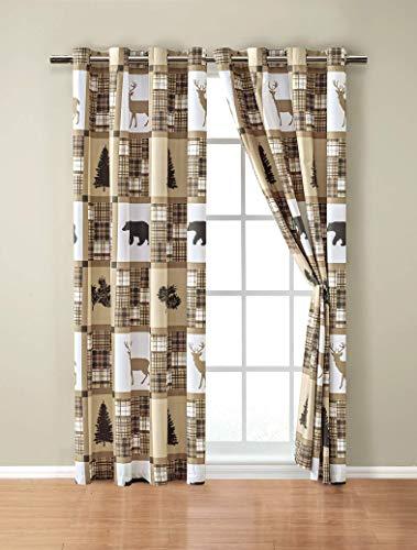 Cabin Lodge Patchwork Curtains Set