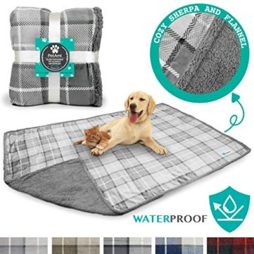 PetAmi-Waterproof-Dog-Blanket-for-Bed-Couch-Sofa-Waterproof-Dog-Bed-Cover-for-Large-Dogs-Puppies-Checkered-Grey-Sherpa-Fleece-Pet-Blanket-Furniture-Protector-80-x-60-Light-Gray