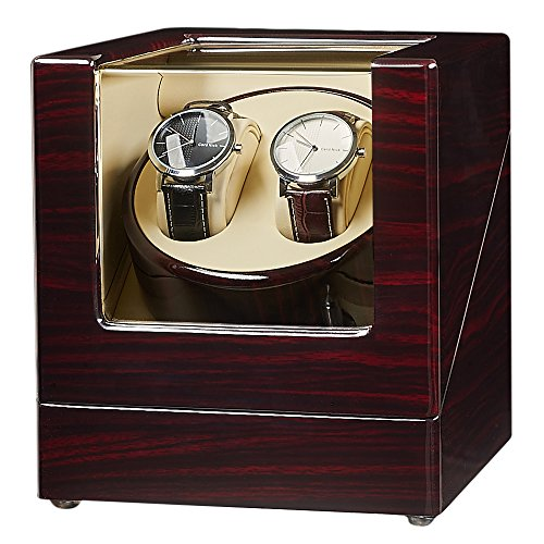 JQUEEN Double Watch Winder with Quiet Japanese Mabuchi Motor (A-Ebony)