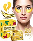 Under Eye Patches for Puffiness - 20 Pairs iMethod 24K Gold Hydrogel Collagen Eye Mask, Under Eye Bags Treatment, Great for Reducing Dark Circles, Puffy Eyes & Fine Lines
