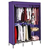 Product review for New Portable Clothes Closet Armoire Wardrobe Double Rod Closet Storage Cubes Organizer Cabinet (VIOLET)