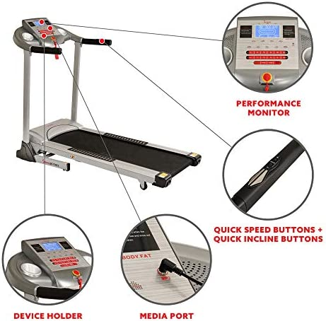Sunny Health & Fitness Electric Folding Treadmill with Auto Incline 3