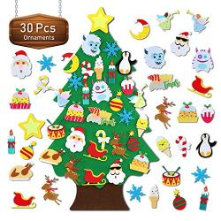 TOBEHIGHER Felt Christmas Tree – 3.1 FT Wall Felt Christmas Tree for Kids with 30 pcs Ornaments, DIY Xmas Gifts for Christmas Decorations