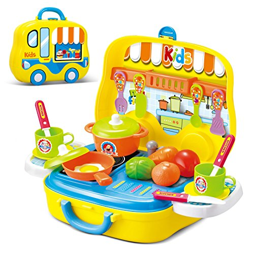 Role play kitchen playset toy kids pretend cooking kit for Kitchen set for 1 year old