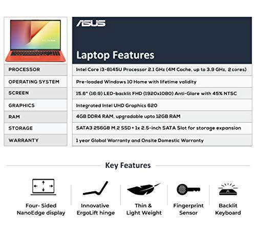 ASUS VivoBook 15 X512FA Intel Core i3 8th Gen 15.6-inch FHD Thin and Light Laptop (4GB RAM/256GB SSD/Windows 10/Integrated Graphics/Coral Crush/1.70 kg), X512FA-EJ547T 4
