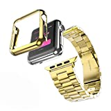 Huanlong Compatible with Apple Watch Band Series 1/2/3/4, Stainless Steel Strap Band w/Adapter+Case Cover Compatible for iWatch 38/40/42/44mm (H Gold 44mm)