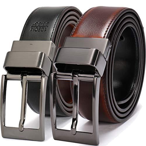 Beltox Fine Men's Dress Belt Leather Reversible 1.25' Wide Rotated Buckle Gift Box(Black Buckle with Cognac/Black Belt,36-38)