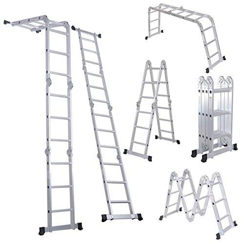 Comie 330lb 12.5ft Multi Purpose Aluminum Folding Step Ladder Foldable Lightweight Scaffold Ladder W/2 Plate (12.5ft)
