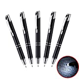 5-PACK LED Light Pen, Heropen Smooth Writting Lighted Tip Ballpoint Pen with Extra Refill and Batteries for Write