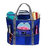 Dejaroo Beach Bag - Mesh Beach Bag - Large lightweight beach tote with 8 pockets including an inside zippered pocket