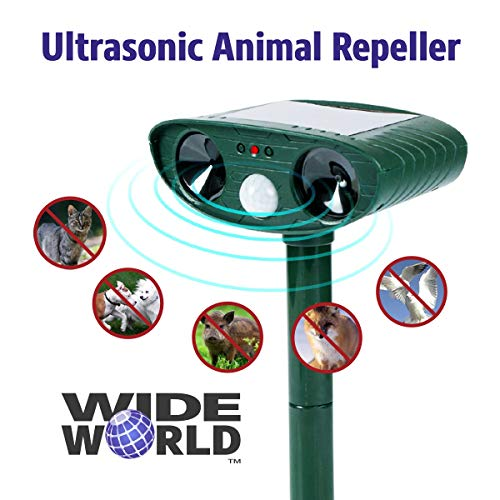 Wide World Ultrasonic Animal Pest Repeller, Outdoor Solar Powered Pest and Animal Repeller - Effectively Scares Away All Outdoor pests and Animals Such as Dogs, Raccoons (2x5.6, Green)