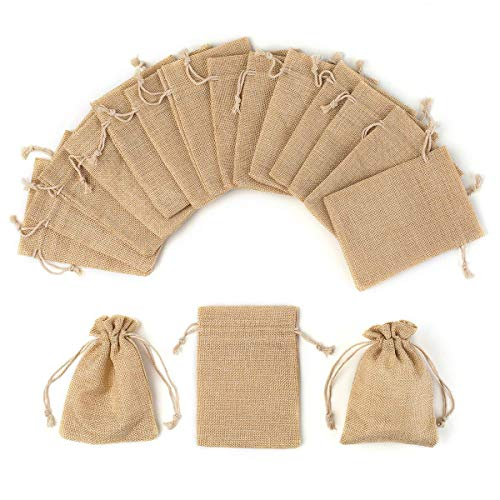 YUXIER Burlap Bags Drawstring Party Favor Bags Small-12/25/30/75 Party Gift Bags-5.3x3.7in Treat Bags for Baby Shower Wedding Kids Party Presents Jewelry Pouches