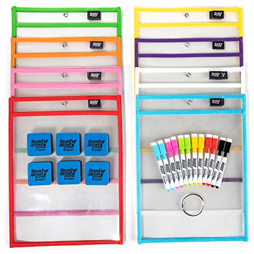 15-Pack-10x14-Premium-Reusable-Dry-Erase-Pockets-with-Unlimited-WORKSHEETS-Free-Bonuses-Each-Heavy-Duty-Dry-Erase-Pocket-Ideal-for-Office-School-Supplies-Classroom-Supplies-by-ReadySet
