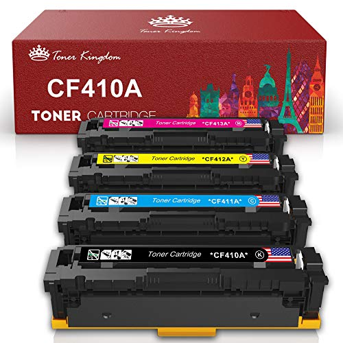 Toner Kingdom Compatible Toner Cartridges Replacement for HP 410A CF410A CF411A CF412A CF413A Color Laserjet Pro MFP M477fdw M477fdn M477fnw Pro M452dn M452nw M452dw Printer (4 Pack)