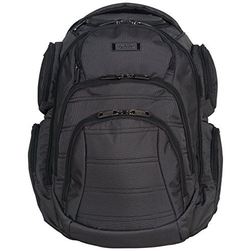 "Kenneth Cole Reaction Pack of All Trades 1680d Polyester Double Gusset 17.0"" Laptop Backpack, Pindot Charcoal"