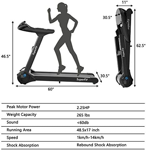 Goplus Electric Folding Treadmill, Portable Running Jogging Machine with Bluetooth Speaker and 17'' Wide Tread Belt, Perfect for Home and Office Use 7