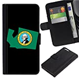 [Map and State Flag of WA Washington] for Samsung Galaxy S8 Active, Flip Leather Wallet Holsters Pouch Skin Case