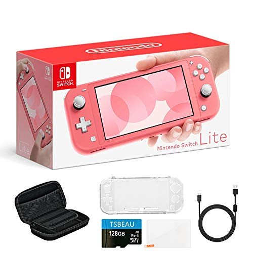 Newest-Nintendo-Switch-Lite-Game-Console-55-LCD-Touchscreen-Display-Built-in-Plus-Control-Pad-Coral-Bundled-with-TSBEAU-128GB-Micro-SD-Card-8-in-1-Carrying-Case-Cover-Protector-Accessories