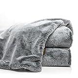 Double Sided Faux Fur Throw Blanket Silky Soft Oversized Afghan Machine Washable, Grey Striped Mink Chinchilla Shadow Fox 55 by 70 Inch (Iced Dream)