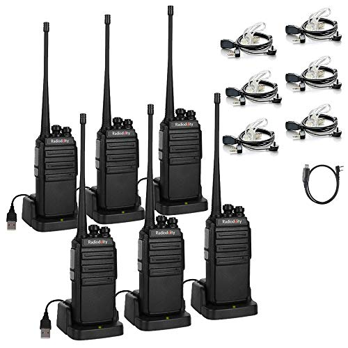 Radioddity GA-2S Long Range Walkie Talkies UHF Two Way Radio for Hunting/Fishing/Camping/Security with Micro USB Charging + Air Acoustic Earpiece with Mic + 1 Programming Cable (6 Pack)