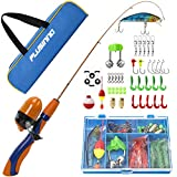 PLUSINNO Kids Fishing Pole,Portable Telescopic Fishing Rod and Reel Full Kits, Spincast Fishing Pole for Kids, Boy, Youth (Orange Handle with Bag, 120CM 47.24IN)