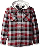 Wrangler Authentics Men\s Long Sleeve Quilted Line Flannel Jacket with Hood, Biking Red with Gray hood, L