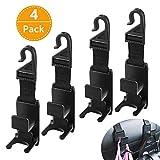 Car Headrest Hook, GMW Vehicle Seat Headrest Hanger Hook 4 Pack for Handbag Purse Coat and Grocery Bag