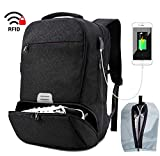 Travel Laptop Backpack Men Sports Gym Bag with Shoes Compartment Water Resistant College Computer Bag with USB Charging Port Fit 16.5 inch Laptop (Black)