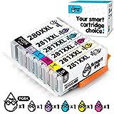 Smart Ink Compatible Ink Cartridge Replacement for Canon PGI-280XXL CLI-281XXL PGI 280 CLI 281 (PGBK & BK/C/M/Y/PB 6 Pack Combo) for Pixma TS8120 TS9120 TS8220