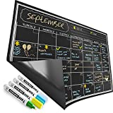 Magnetic Calendar for Refrigerator - Dry Erase Black Board for Kitchen Fridge - Bright Neon Chalk Markers - 17X12' Monthly Blackboard Organizer - Perfect Chalkboard Magnet